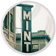 The Mint Classic Neon Sign Livingston Montana Round Beach Towel