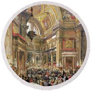 The Miracle Of The Liquefaction Of The Blood Of Saint Januarius Round Beach Towel