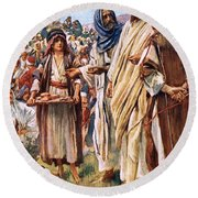 The Miracle Of The Loaves And Fishes Round Beach Towel
