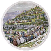 The Miracle Of The Loaves And Fishes Round Beach Towel by Tissot