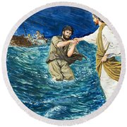 The Miracles Of Jesus Walking On Water  Round Beach Towel
