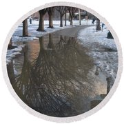 The Mirrored Streets Of Philadelphia In Winter Round Beach Towel