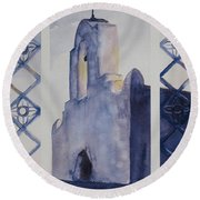 The Mission In Evening Shadow Round Beach Towel