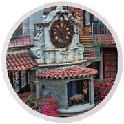 The Mission Inn Clock Tower Round Beach Towel