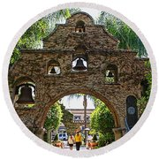 The Mission Inn Entrance Round Beach Towel