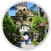 The Mission Inn Stage Coach Entrance Round Beach Towel