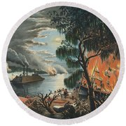 The Mississippi In Time Of War, 1865  Round Beach Towel