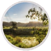The Mists Of The Morning Round Beach Towel