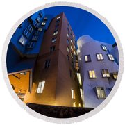 The Mit Stata Center At Night Kendall Square Cambirdge Ma Moon Front Round Beach Towel