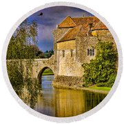 The Moat At Leeds Castle Round Beach Towel