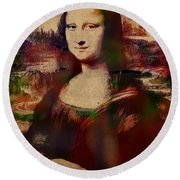 The Mona Lisa Colorful Watercolor Portrait On Worn Canvas Round Beach Towel