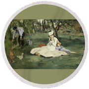 The Monet Family In Their Garden At Argenteuil Round Beach Towel