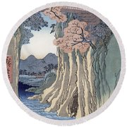 The Monkey Bridge In The Kai Province Round Beach Towel by Hiroshige