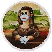 The Monkey Lisa Round Beach Towel
