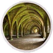The Monks Cellarium, Fountains Abbey.  Round Beach Towel