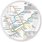 The Montreal Pubway Map Round Beach Towel