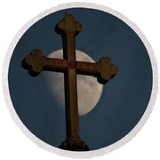 The Moon And The Cross  Round Beach Towel