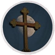 The Moon And The Cross II Round Beach Towel