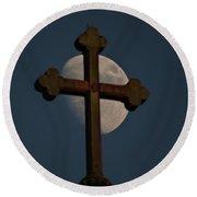 The Moon And The Cross IIi. Round Beach Towel