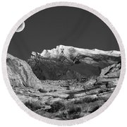 The Moon And The Mountain Range Round Beach Towel
