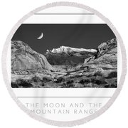 The Moon And The Mountain Range Poster Round Beach Towel