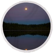 The Moon Over Kirkas-soljanen 3 Round Beach Towel