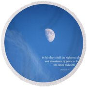 The Moon With A Psalm Round Beach Towel