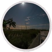 The Moonit Path To Fort Myers Beach Fort Myers Florida Round Beach Towel