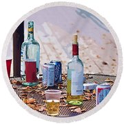 The Morning After The Party Round Beach Towel