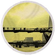 The Morning Commute Round Beach Towel