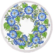 The Morning Glory Circle Watercolor Round Beach Towel