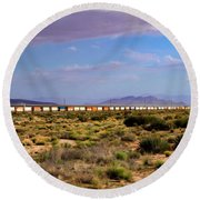 The Morning Train By Route 66 Round Beach Towel
