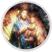 The Mother Of The King Is Queen Round Beach Towel