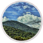 The Mountain Meets The Sky Round Beach Towel