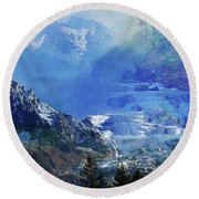 The Mountains Melting Snows Round Beach Towel