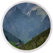 The Mountains Of Switzerland Round Beach Towel