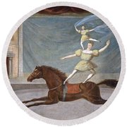 The Mounted Acrobats Round Beach Towel