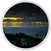 The Mouth Of The Columbia River Round Beach Towel