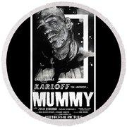 The Mummy 1932 Movie Poster  Round Beach Towel
