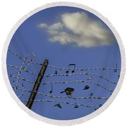 The Musical Barbed Wire Birds Round Beach Towel