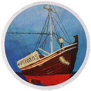 The Mykonos Boat Round Beach Towel