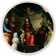 The Mystic Marriage Of St Catherine Of Siena With Saints Round Beach Towel