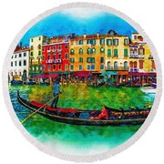 The Mystique Of Italy Round Beach Towel