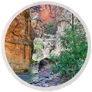 The Narrows Of The Virgin River  Round Beach Towel