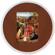 The Nativity By Gerard David  Round Beach Towel