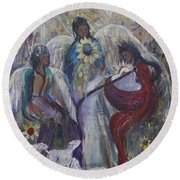 The Nativity Of The Angels Round Beach Towel