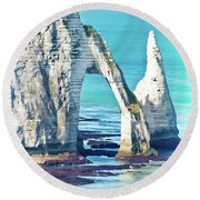The Needle Of Etretat Round Beach Towel