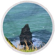 The Needle Off The Cliff's Of Moher In Ireland Round Beach Towel