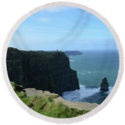 The Needle Rock Formation On The Cliff's Of Moher Round Beach Towel