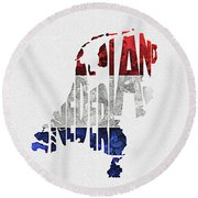 The Netherlands Typographic Map Flag Round Beach Towel